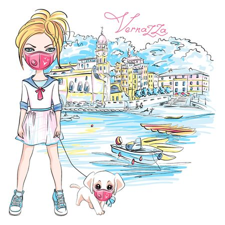 Vector cute blond girl walking a dog during coronavirus COVID-19 quarantine in Vernazza, Liguria, Italy. Girl and dog in protective masks. 일러스트