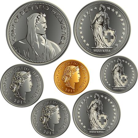 Set of Swiss Franc money, official coin in Switzerland, obverse face with alpine herdsman, Liberty, Helvetia and latin legend Confoederatio Helvetica