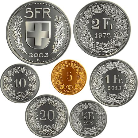 Set of Swiss Francs money, official coin in Switzerland, reverse faces with federal coat of arms, value, year, branches of plants