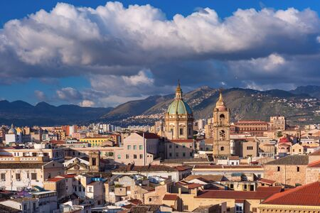 Beautiful aerial view of sunny Palermo with Church of Saint Mary of Gesu in the morning, Sicily, Italy