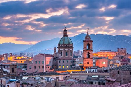 Aerial view of Palermo with Church of Saint Mary of Gesu at sunset, Sicily, Italy