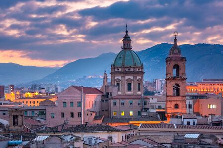 Closeup aerial view of Palermo with Church of Saint Mary of Gesu at sunset, Sicily, Italy