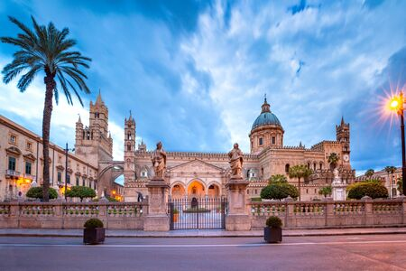 Metropolitan Cathedral of the Assumption of Virgin Mary in Palermo in the morning, Sicily, Italy