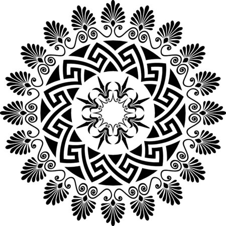 Traditional vintage black and white circle Greek ornament and floral pattern