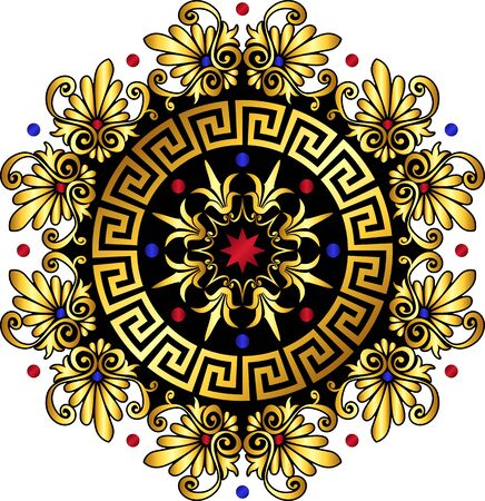 Traditional vintage gold and red circle Greek ornament and floral pattern on white background