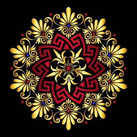 Traditional vintage gold and red circle Greek ornament and floral pattern on black background