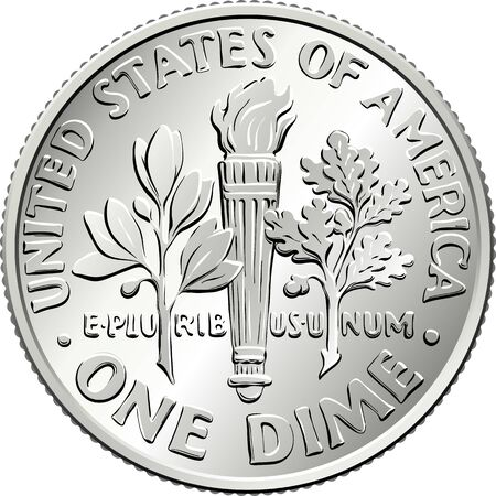 American money Roosevelt dime, United States one dime or 10-cent silver coin, olive branch, torch, oak branch on reverse