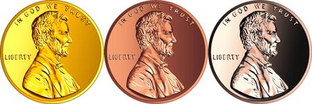 Set of coins made of different metal, USA money one cent or penny, Lincoln cent coin with President Abraham Lincoln on obverse