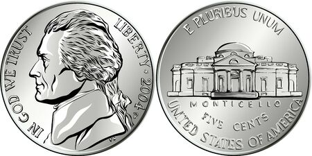 Jefferson nickel, American money, USA five-cent coin with US third President Thomas Jefferson on obverse and his house Monticello on reverse Illustration
