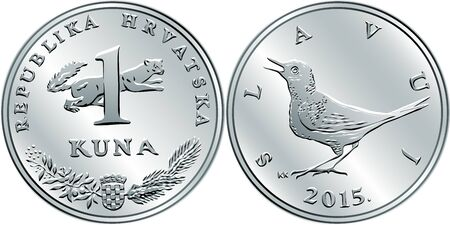 Croatian 1 kuna coin, Nightingale on reverse, marten, coat of arms, state title and indication of value on obverse, official coin in Croatia