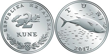 Croatian 2 kuna coin, Tuna on reverse, marten, coat of arms, state title and indication of value on obverse, official coin in Croatia