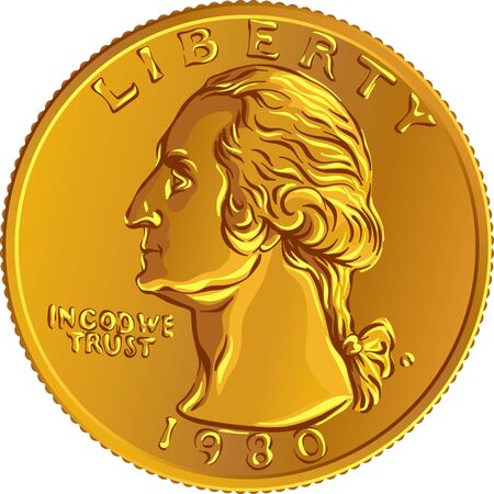 American money, United States Washington quarter dollar or 25-cent Gold coin, first United States president profile George Washington on obverse Vector Illustration