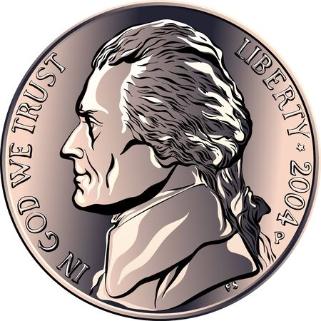 Jefferson nickel, American money, United States five-cent coin with profile Thomas Jefferson, third President of the United States on obverse Ilustración de vector
