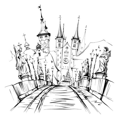 Vector sketch of Alte Mainbrucke, Old Main Bridge, with statues of saints in Wurzburg, Franconia, Northern Bavaria, Germany