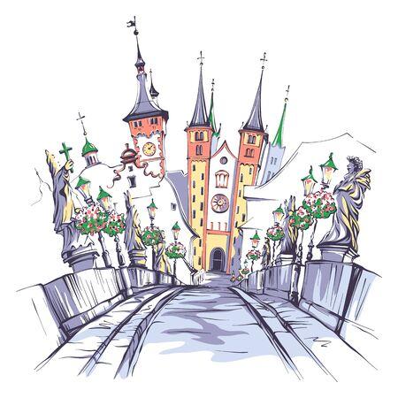 Vector sketch of Alte Mainbrucke, Old Main Bridge, with statues of saints in Wurzburg, Franconia, Northern Bavaria, Germany Standard-Bild - 150169720