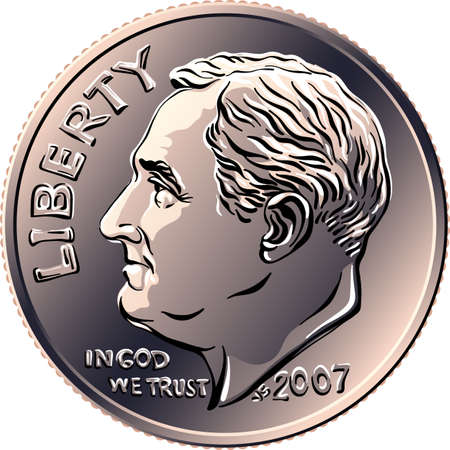 American money Roosevelt dime, United States one dime or 10-cent silver coin with President Franklin D Roosevelt on obverse Иллюстрация