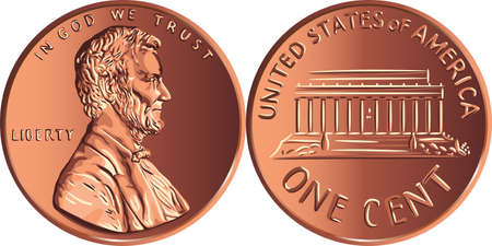 American money Lincoln Memorial cent, United States one cent or penny, coin with President Abraham Lincoln on obverse and Lincoln Memorial on reverse 写真素材 - 150638063