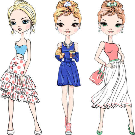 Vector set of three beautiful fashion girls top model in summer dresses