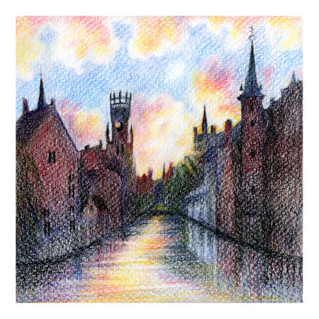 Urban sketch of Rozenhoedkaai canal in Bruges with the belfry in the background at sunset, Belgium. Drawing with colored pencils Stock fotó