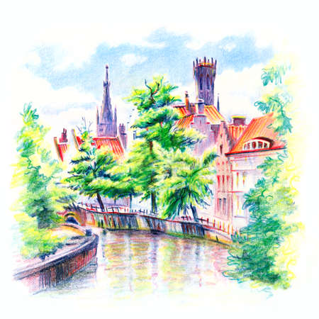 Urban sketch of Steenhouwers canal in Bruges with the belfry in the background, Belgium. Drawing with colored pencils