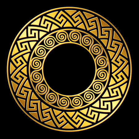 Traditional vintage Golden round Greek ornament, Meander pattern on black background.
