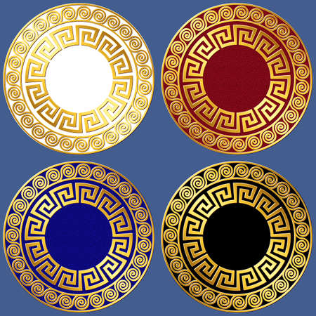 Set of Gold circle Greek ornament, Meander pattern, on black, white, red and blue background