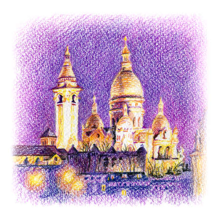 Urban sketch of Basilica of the Sacred Heart of Paris, Paris, France. Drawing with colored pencils
