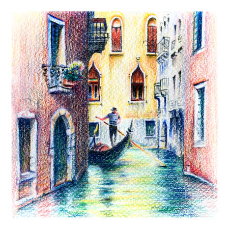 Urban sketch of Gondolas on lateral narrow Canal, Venice, Italy. Drawing with colored pencils Banque d'images