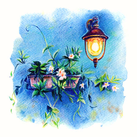 Picturesque lantern and flowers on blue wall of house on the famous island Burano, Venice, Italy. Drawing with colored pencils and watercolor