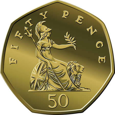 Vector British money gold coin fifty pee or pence, reverse with seated Britannia alongside lion, with olive branch and trident