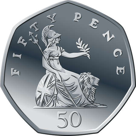Vector British money silver coin fifty pee or pence, reverse with seated Britannia alongside lion, with olive branch and trident