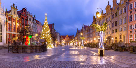 Panorama of Long Lane with Fountain of Neptune and Christmas tree in Gdansk Old Town, Poland