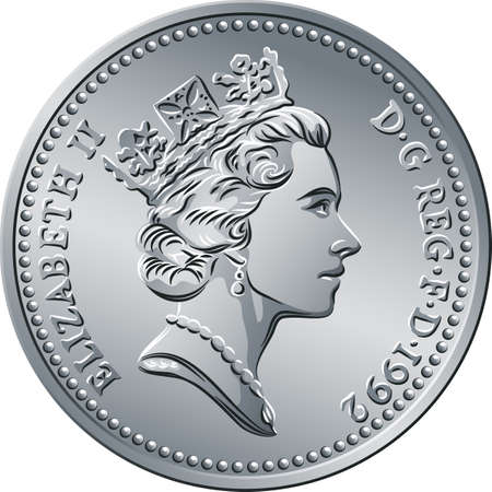 British money silver coin Ten pee or ten pence, queen on obverse Illustration