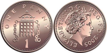 Vector british money bronze coin One penny, crowned portcullis with chains on reverse, queen on obverse