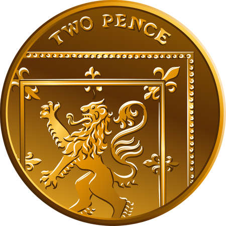 Vector new design of British gold coin Two pee or 2 pence, reverse with Segment of the Royal Shield