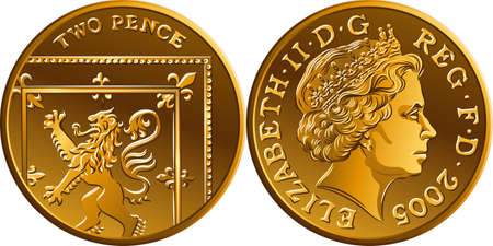 Vector British gold coin Two pee or 2 pence, reverse with Segment of Royal Shield, obverse with queen Illustration