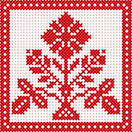 Vector national white and red belarus ornament. Slavic ethnic pattern. Embroidery, Cross-stitch Illustration