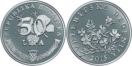 Croatian 50 lipa coin, Degenia on reverse, state title and indication of value on obverse, official coin in Croatia