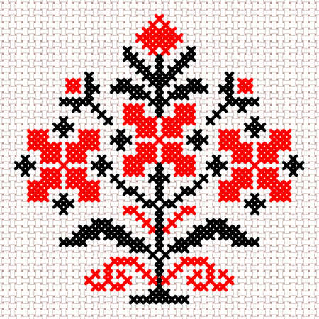 Vector national white and red belarus floral ornament. Slavic ethnic pattern. Embroidery, Cross-stitch