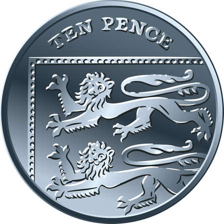 British money silver coin Ten pee or ten pence, reverse with Segment of Royal Shield Illustration