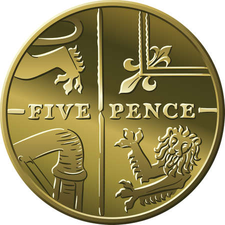 British money gold coin Five pee or Five pence, reverse with Segment of Royal Shield