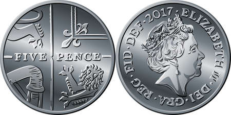 British money silver coin Five pee or Five pence, reverse with Segment of Royal Shield and obverse with queen Illustration