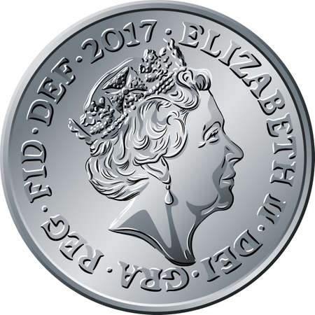 Vector obverse of British money silver coin five pee or pence