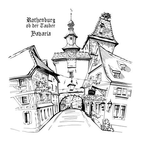 Vector sketch of Markusturm in medieval old town of Rothenburg ob der Tauber, Bavaria