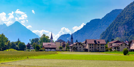 Panorama of Old City of Interlaken, important tourist center in the Bernese Highlands, Switzerland