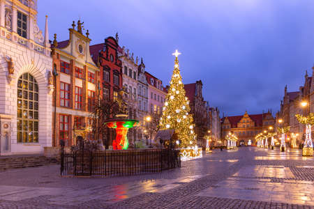 Long Lane with Fountain of Neptune and Christmas tree in Gdansk Old Town, Poland