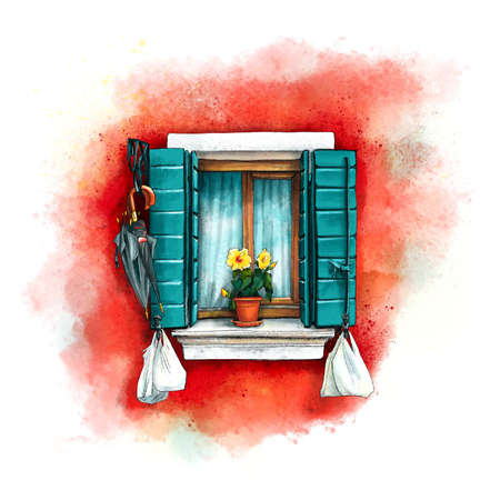 Window with green shutters and yellow flowers on red wall of houses on island Burano, Venice, Italy. Digital drawing as watercolor