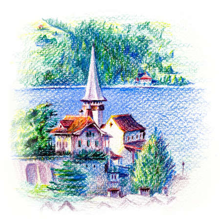 Spiez Church on shore of Lake Thun in Spiez, Switzerland. Drawing with colored pencils
