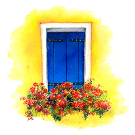 Watercolor sketch of window with blue shutters and red flowers on yellow wall of houses on island Burano, Venice, Italy. watercolor Banque d'images