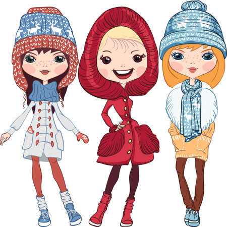Set of fashion hipster girl in a coat, knitted hats, scarves and mittens in winter
